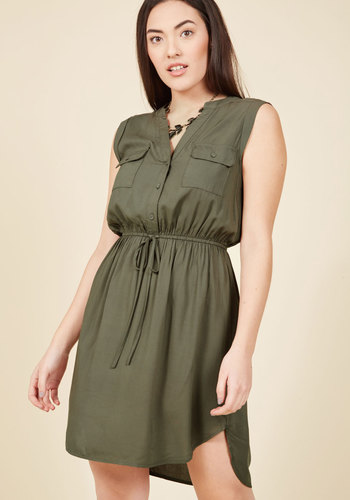 Woods to the Wise Shirt Dress in Olive in L