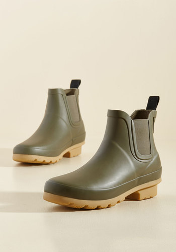 Joules Rain On Your Promenade Booties in Olive Green