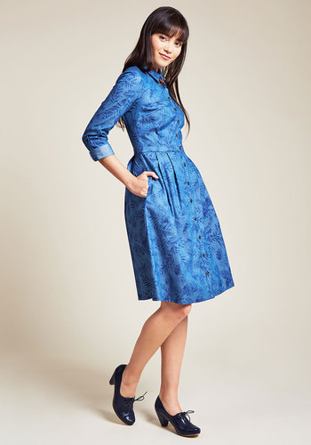 1940s Style Dresses and Clothing Broadcast Coordinator Shirt Dress in Frond $79.99 AT vintagedancer.com
