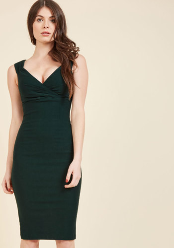 Vintage Evening Dresses and Formal Evening Gowns Lady Love Song Sheath Dress in Pine $84.99 AT vintagedancer.com