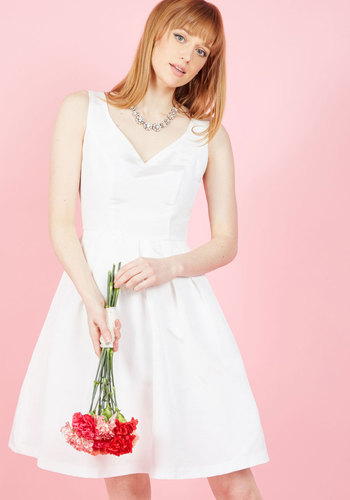 1960s Style Wedding Dresses From This Sway Forward A-Line Dress in White $150.00 AT vintagedancer.com